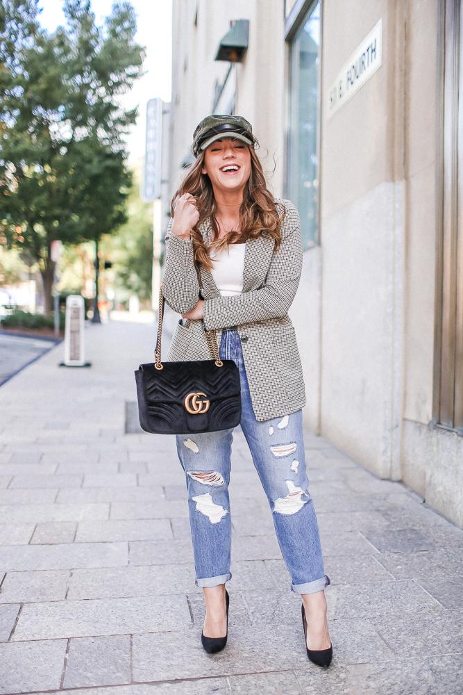 Brittany Ann Courtney Tartan Blazer and Baker Boy Hat