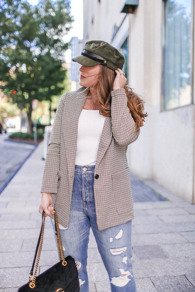 Brittany Ann Courtney Tartan Blazer and Baker Boy Hat