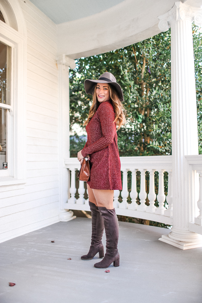 f4241f0ba39 Thanksgiving Day Sweater Dress Outfit Idea • Brittany Ann Courtney